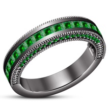 Women's Band Ring Princess Cut Green Sapphire 14k Black Gold Plated 925 Silver - $86.99