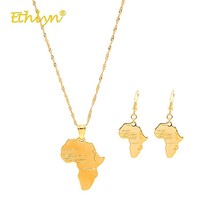 Ethlyn 2018 Drop Earrings Necklace Set map Pendant African Wedding Jewel... - $25.62