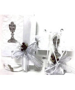 First Communion Girls Gift Set - Handkerchief Rosary Cross Shaped Candle - $39.97