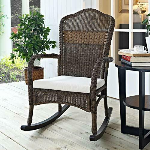 Classic Traditional Country Brown Resin Wicker Patio Rocking Chair Outdoor Porch