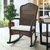 Classic Traditional Country Brown Resin Wicker Patio Rocking Chair Outdo... - €254,93 EUR