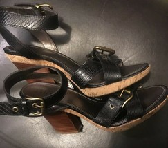 franco sarto womens leather wooden high heels sandals strappy blk sz 9.5 image 2