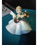 Vintage Napco Birthday Girl Blue Dress Bouquet of Flowers Big Bow Figuri... - $14.99