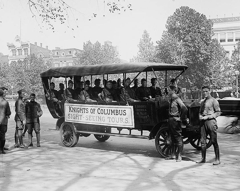 Primary image for Knights of Columbus sightseeing tour bus for soldiers World War I Photo Print