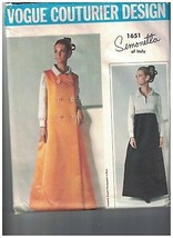 1651 Vintage Vogue Patron Couture Manteau Robe Simonetta Couturier Desig... - $39.73