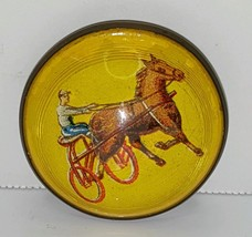 Antique Bridle Rosette TROTTER HORSE JOCKEY & SULKY Glass Domed Pinback ... - $44.50