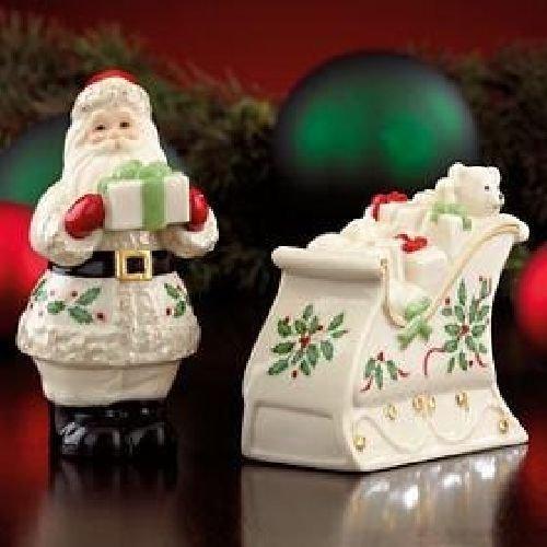 Lenox Holiday Pattern Salt & Pepper - Santa And Sleigh Shakers - $40.00