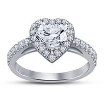 Heart Shape Simulated Diamond Ladies Anniversary Ring White Gold Over 92... - $69.99