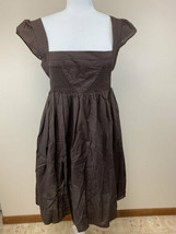 Maeve Anthropologie 10 Brown Supreme Grace Smocked Bodice Cotton Dress - $24.99