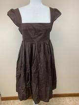 Maeve Anthropologie 10 Brown Supreme Grace Smocked Bodice Cotton Dress - $24.99