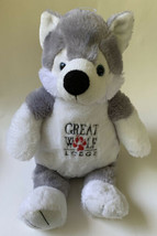"Grey Wolf Plush Stuffed Animal Plush Toy 15"" Fiesta Great Wolf Lodge Wiley - $15.83"
