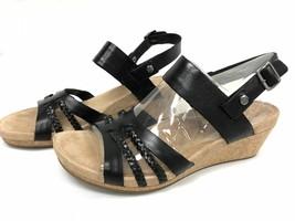 UGG Womens Serinda Wedge Sandal Open Toe Slingback Black Leather Retail ... - $62.00