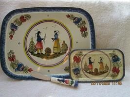 Heinriot Quimper France, two metal trays & knife - $20.00