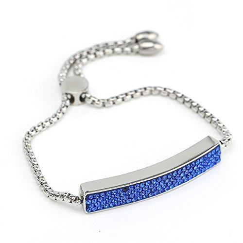 UNITED ELEGANCE Silver Tone Bar Bracelet, Sapphire Blue Swarovski Style Crystals