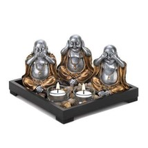 Speak-Hear-See No Evil Buddha Candle holder Set - $15.76