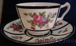 Crown Staffordshire Teacup and Saucer Striking Black Bands HPT Summer Fl... - $29.65