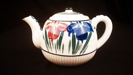Teapot Porcelain Hand Painted 4 Cup Made in Japan Stylized Flowers Blue ... - $9.89