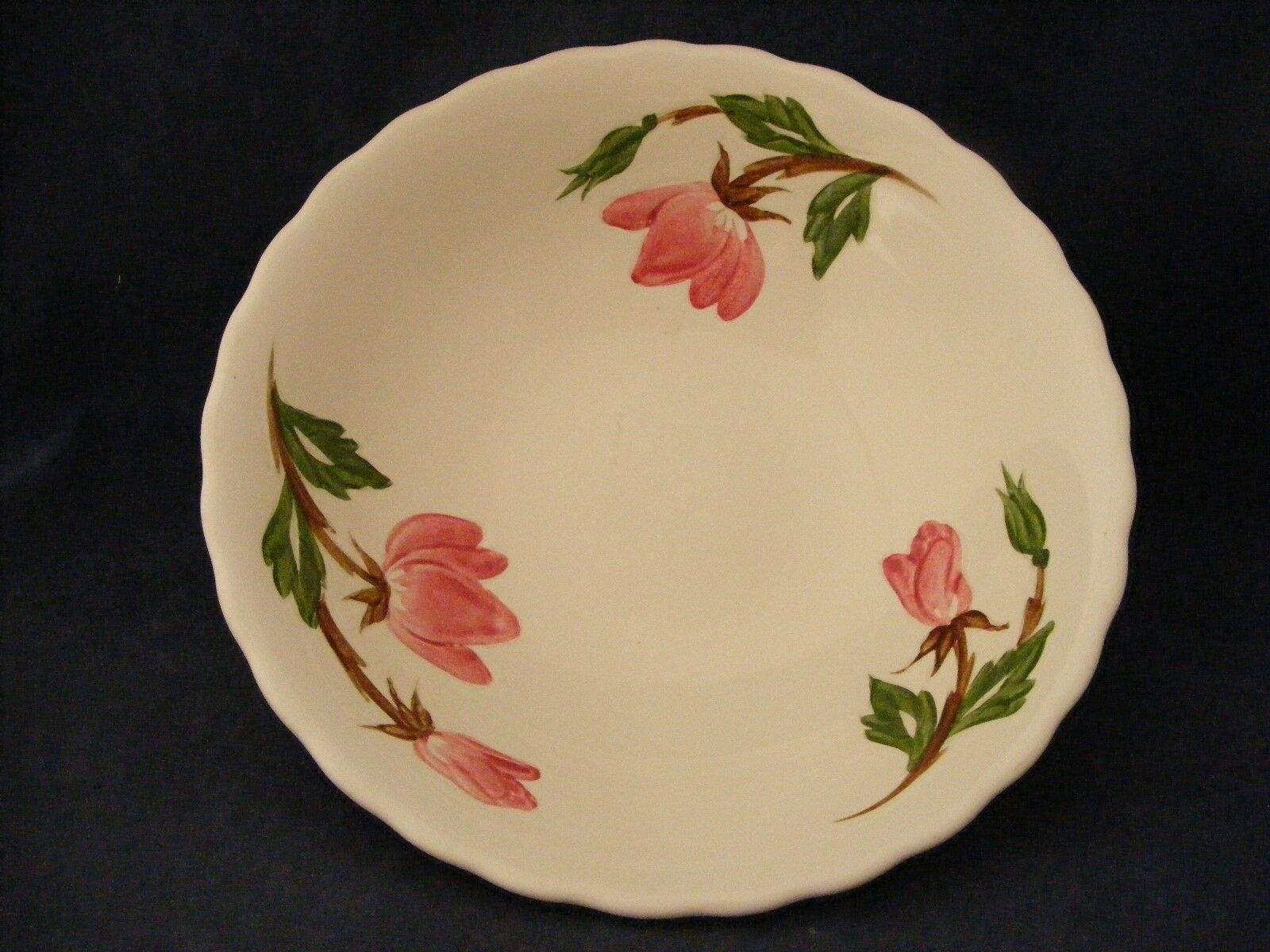 "Continental Kilns Green Arbor Pink Magnolia 8 7/8"" Serving Bowl Hand Painted"