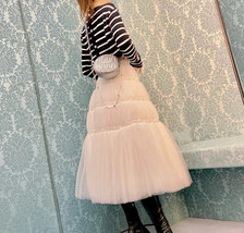 High Waisted Tiered Tulle Skirt Outfit Khaki Puffy Tiered Skirt Holiday Outfit  image 6