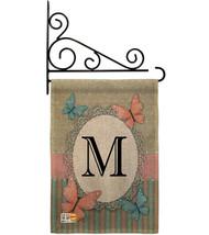 Butterflies M Initial Burlap - Impressions Decorative Metal Fansy Wall Bracket G - $33.97