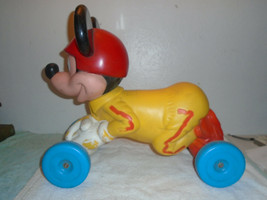 Vintage 1970s Mickey Mouse Walt Disney ride on mattel 4 wheel toy rare - $80.18