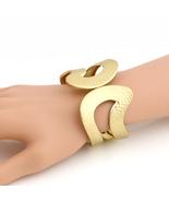 UE- Designer Gold Tone Hinged Cuff Bangle Bracelet With Trendy Hammered ... - $19.99