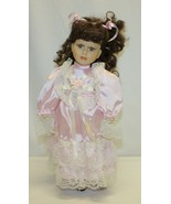 "Vintage 16"" Porcelain Doll – Brown Hair and Eyes Real Eyelashes Unbranded - $19.79"