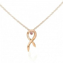 0.04Cts Pink Diamond Drop Pendant Necklace,14K Rose Gold,Breast Cancer A... - $485.10