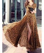 Chiffon Leopard Print Split Women's Maxi Dress - $55.00