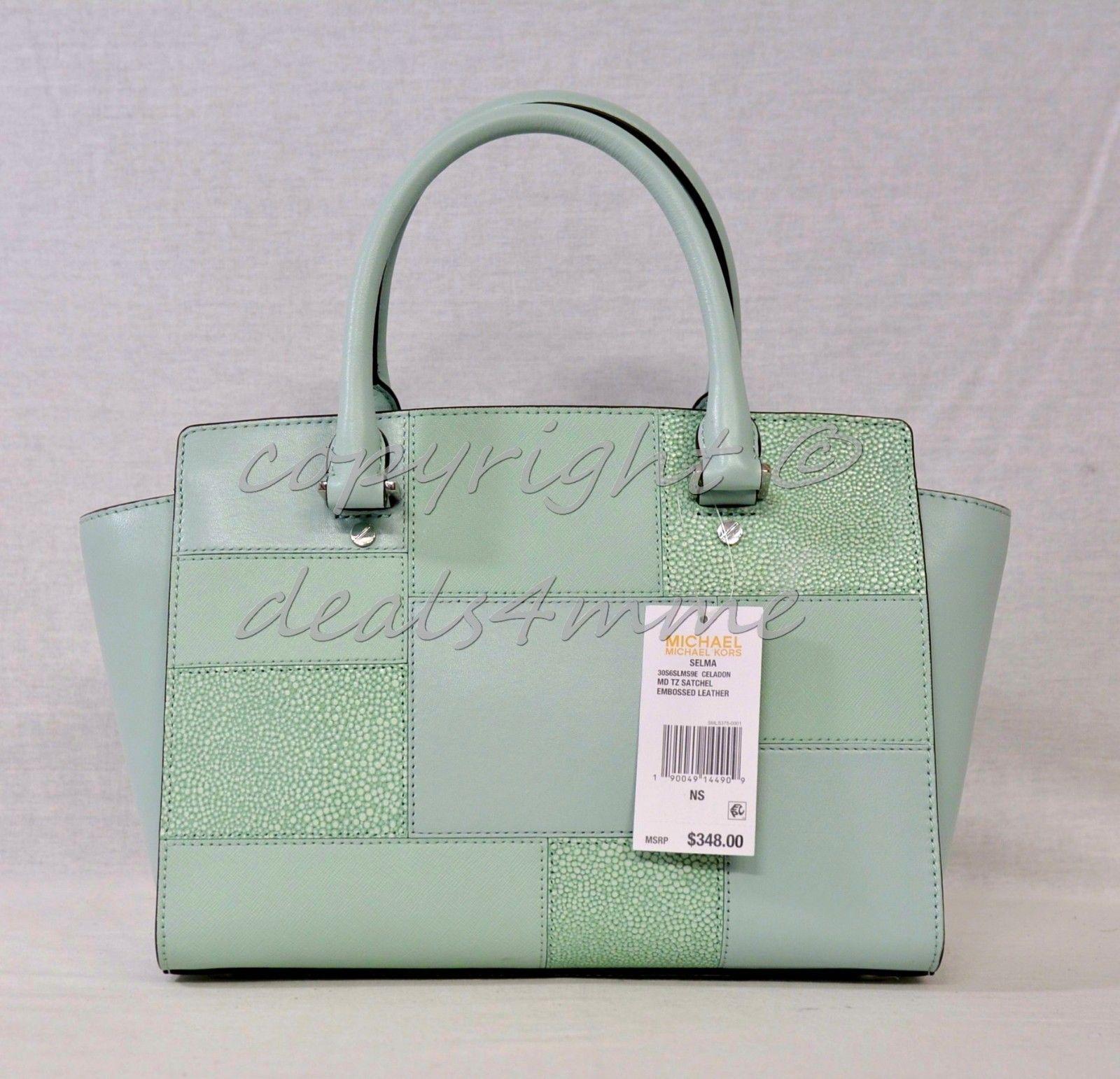 7dad2b1df397 Michael Kors Selma Medium Top Zip Satchel Shoulder Bag in Celadon - Light  Green
