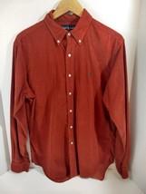 Ralph Lauren Rust Colored Corduroy Button Down Shirt Logo Green Pony Sz L - $37.39
