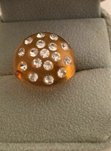 Vintage Orange Lucite Dome Ring Clear Stones Size 6 1/2 - $6.95