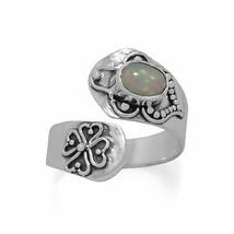 .925 Sterling Silver Oxidized Ethiopian Opal Wrap Women's Ring - $58.61