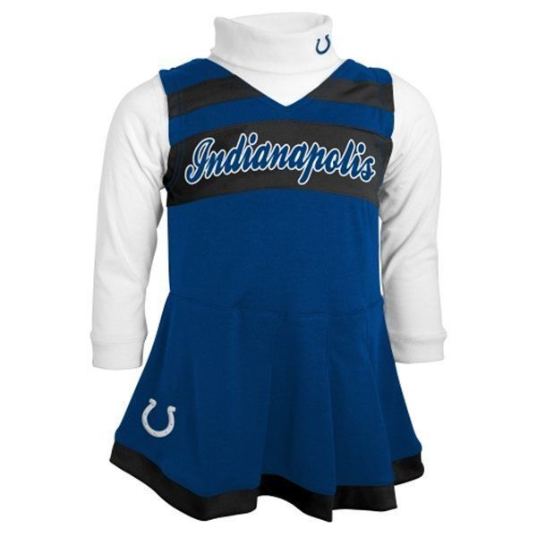 Indianapolis Colts Cheerleader Dress Toddler Girl's 2-Piece Jumper Turtleneck