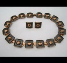 Matisse Renoir Copper Necklace And Earrings Twist Back Signed 1950 MCM - $163.35