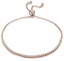 Presentski 925 Sterling Silver Adjustable Tennis Bracelet with CZ, Rose ... - $34.75