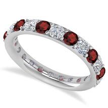 2.00 Ct Round Cut Real Diamond & Garnet 14K Gold Full Eternity Wedding B... - €596,18 EUR