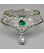 8.96Ct Rose Cut Diamond Pearl Silver Wedding Antique Style Tiara Crown Q... - $1,347.00
