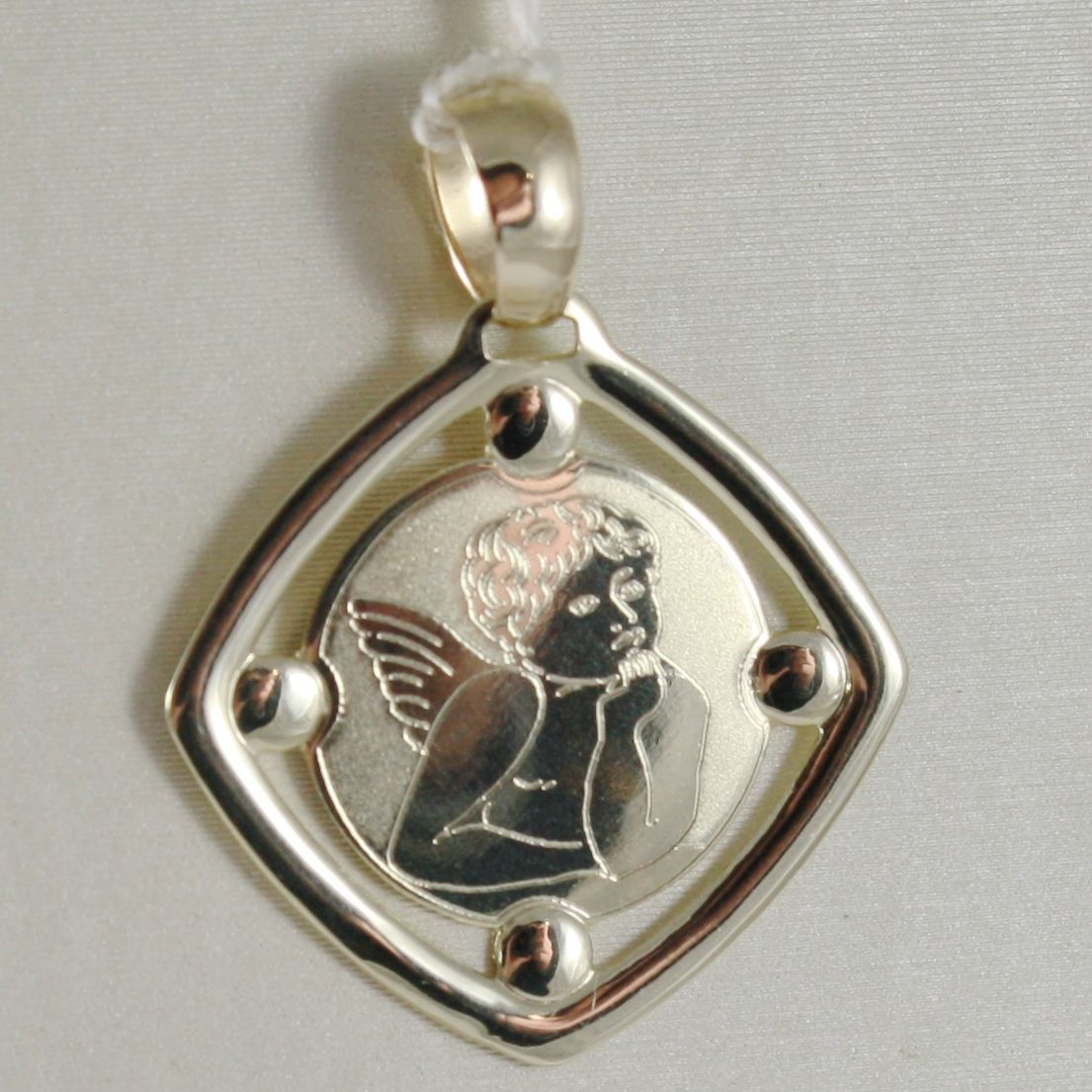 PENDENTIF MÉDAILLE OR JAUNE 375 9K, ANGE TUTEUR LOSANGE, SATIN, MADE IN ITALY