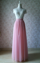 A Line Tulle Wedding Skirt Maxi Long Tulle Skirt Pink Wedding Separate(US0-US30) image 2