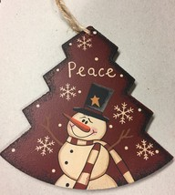 Primitive Wood WL022 Peace Tree  Snowman Christmas Ornament  - $3.95