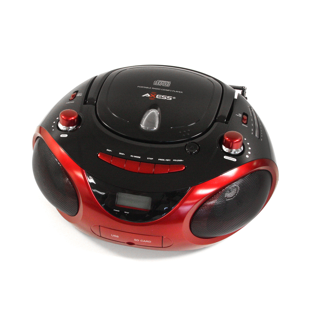 Axess Red Portable Boombox MP3/CD Player with Text Display,with AM/FM Stereo, US