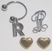 Lot Monogram R Earrings, Pin brooch, & Keychain Womens Girls Gift Monogr... - $15.68