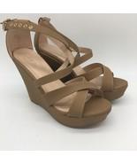 Nude Beige Tan Criss Cross Platform Ankle Strap Wedges Heel Sandals Shoe... - $24.75