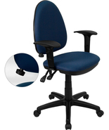 Offex Mid-back Navy Blue Fabric Task Chair with Arms, Adjustable Lumbar ... - $165.63