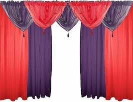 "Red & Purple 9 Piece Voile Set 48"" 122CM Rod Pocket Curtains Drapes & Swags - $44.83"