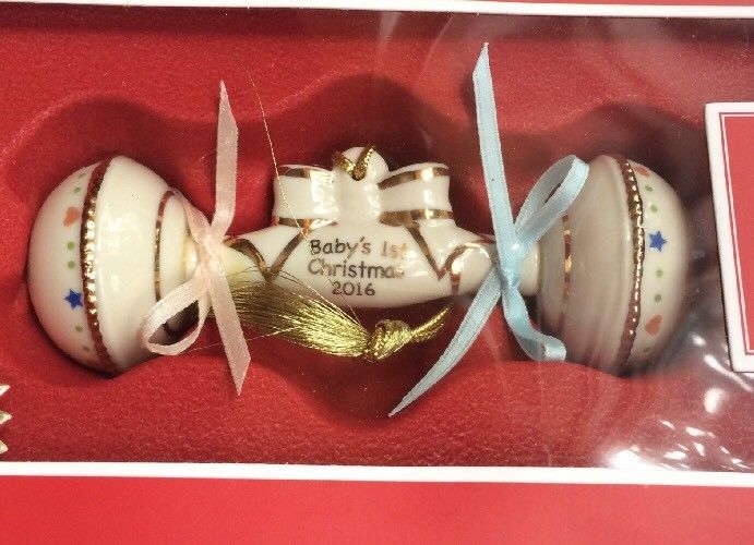 New Lenox 2016 Baby's 1st Christmas Rattle Ornament America By Design