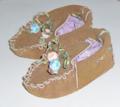 American Made! Brown Leather Baby Moccasins First Infants Moccasins Hand... - $27.95
