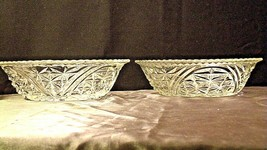 Heavy Etched Cut Glass Serving Bowls (Pair) AA20-CD0059 Vintage image 2