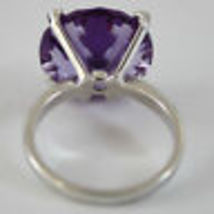 18K WHITE GOLD RING DIAMONDS ct0.21 AMETHYST ct11.50 AMAZING CUT, MADE IN ITALY image 3